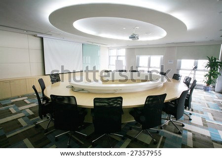 view of modern Meeting room interior - stock photo