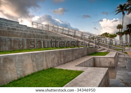 View of modern minimalistic landscaping in South Pointe Park, Miami Beach, Florida.