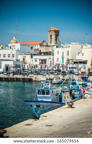 View of Mola di Bari, village in the south of italy - stock photo