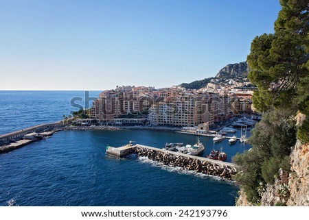 View of monaco port in Fontvielle from the castle, daytime, landscape view - stock photo