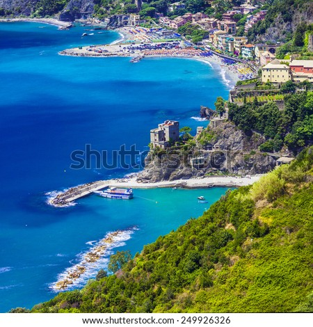 view of Monterosso al mare, Ligurian coast. Cinque terre, Italy - stock photo