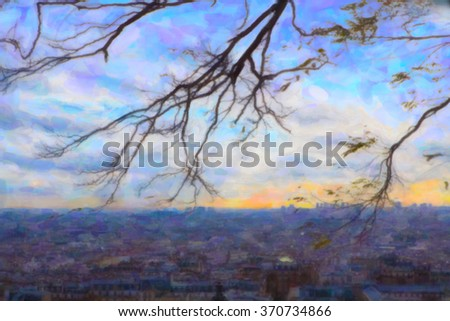 View of Montmartre. Painting stylization.