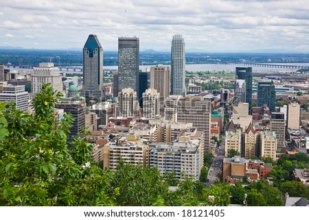 View of Montreal City from the top of Mount Royal, Quebec, Canada - stock photo