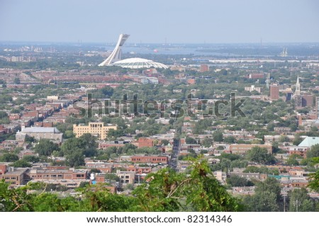 View of Montreal in Canada from Mount Royal - stock photo