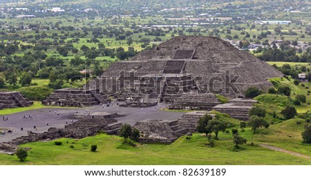 View of Moon Pyramids in Teotihuacan - Mexico - stock photo