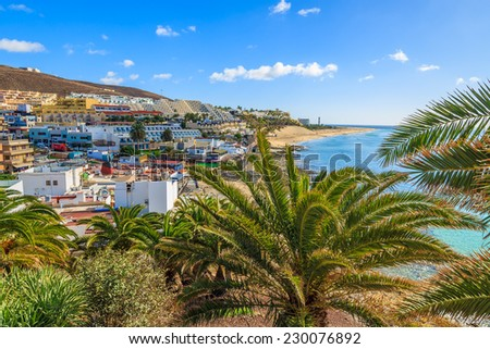 View of Morro Jable town on Jandia peninsula, Fuerteventura, Canary Islands, Spain  - stock photo