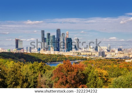 View of Moscow downtown, Moscow-city business center, Russia.