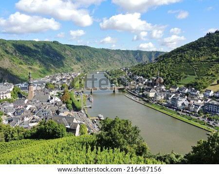 view of Moselle river and Cochem town in Germany - stock photo