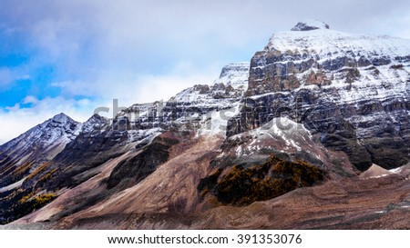 View of Mount Aberdeen and Fairview Mountain from the hiking trail to Plain of Six Glaciers in Banff National Park in the Canadian Rocky Mountains - stock photo