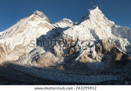 View of Mount Everest, Lhotse and Nuptse from Pumo Ri base camp - way to Mount Everest base camp - Nepal