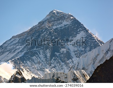 View of Mount Everest (8848 m) from the Renjo Pass - Gokyo region, Nepal, Himalayas - stock photo