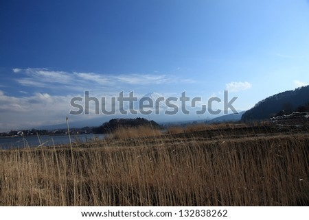 View of Mount Fuji from Kawaguchiko lake in march,Snow-capped Mount Fuji with clear sky background