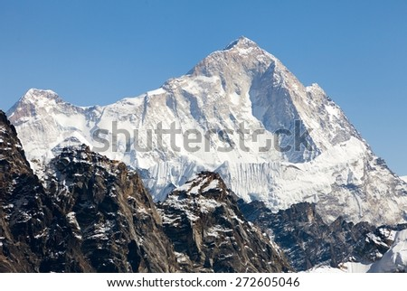 View of mount Makalu (8463 m) from Kongma La pass - Way to Everest base camp, three passes trek, Everest area, Sagarmatha national park, Khumbu valley, Nepal - stock photo