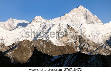 View of mount Makalu (8463 m) from Kongma La pass - Way to Everest base camp, three passes trek, Everest area, Sagarmatha national park, Khumbu valley, Nepal