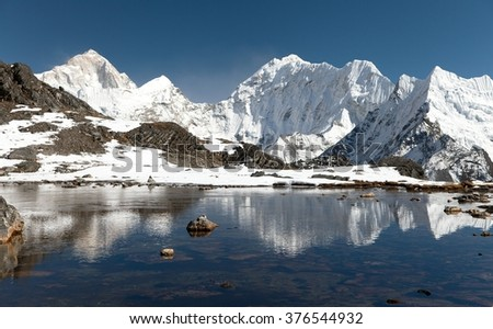 View of Mount Makalu mirroring in lake near Kongma La pass, three passes trek, way to Everest base camp, Khumbu valley, Sagarmatha national park, Nepal