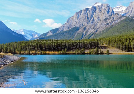 View of Mount Rundle and Grassi Lakes Alberta Canada