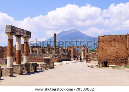 View of Mount Vesuvius through the ruins of the Forum at Pompeii, Italy - stock photo
