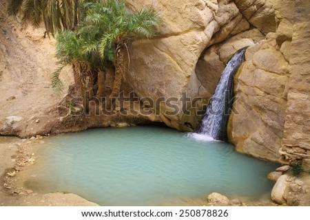 View of mountain oasis Chebika, Sahara desert, Tunisia, Africa - stock photo