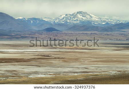 "View of mountains and ""Salar del Rincón""  in Sico Pass, Argentina - stock photo"