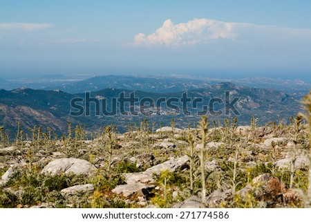 view of mountains, Attavyros mountains, on the top of mountain, mountain flowers and cactus, blue sky with white clouds, island of Rhodes, Greece - stock photo