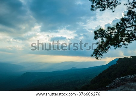 View of mountains from Phu kradueng national park in thailand, Landscape photo