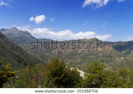 View of mountains in Achaia in Greece