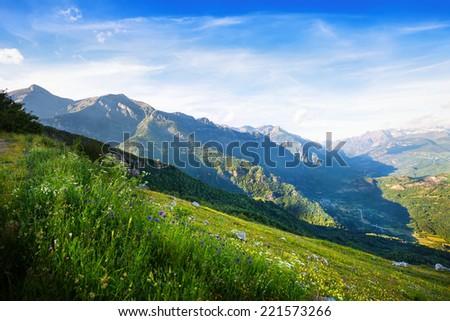 View of  mountains landscape. Huesca, Aragon - stock photo