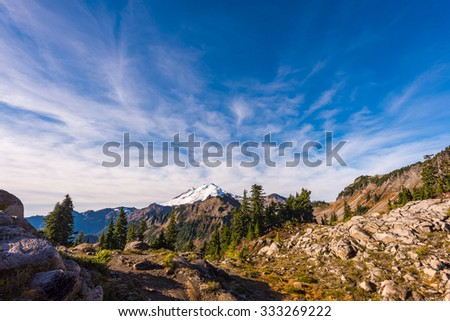view of mt baker from Artist point hiking area,scenic view in Mt. Baker Snoqualmie National Forest Park,Washington,USA. - stock photo