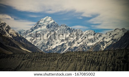 View of Mt Cook, New Zealand's highest mountain