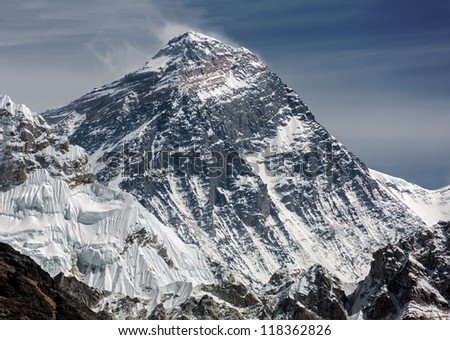 View of Mt. Everest (8848 m) from the fifth lake Gokyo, Nepal - stock photo