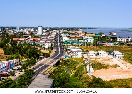View of Mukdahan business center in Mukdahan Thailand, Mukdahan is also city of Thai - Lao P.D.R. border business center, view from Mukdahan Tower cityscape.