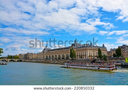 View of Musee d'Orsay from Seine river in Paris, France - stock photo