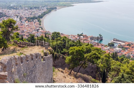 View of Nafpaktos town from the castle, Greece - stock photo