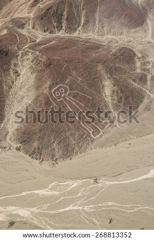 View of nazca Line: The astronaut. - stock photo