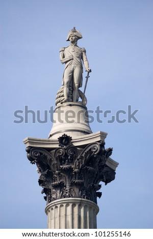 View of Nelson's Column, Trafalgar Square, London. - stock photo