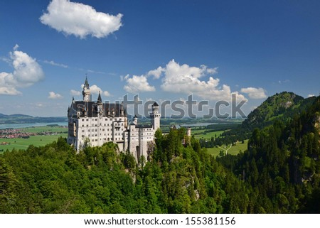 view of Neuschwanstein Castle in Bavaria, Germany - stock photo