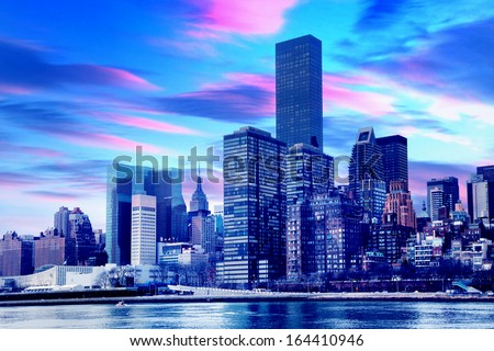 View of New York City at sunset. - stock photo