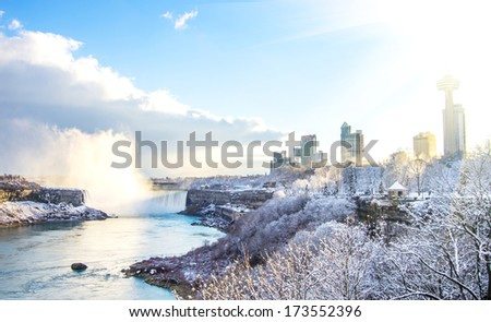 View of Niagara Falls in winter - stock photo