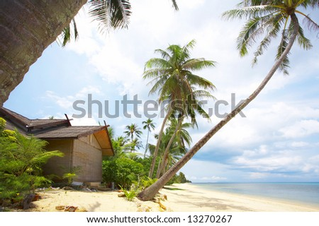 View of nice exotic hut on tropical beach