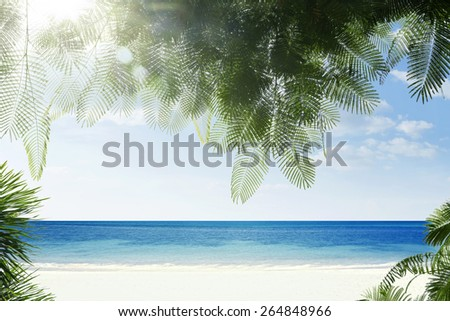 view of nice  palms, blue ocean  and white sandy tropical beach - stock photo