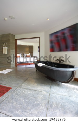 view of nice stylish bathroom. Image on wall was contorted! - stock photo
