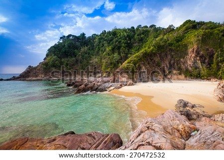 View of nice tropical beach. - stock photo