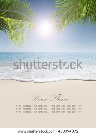 View of nice tropical beach. Banner, extra space for your text. - stock photo