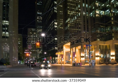 View of night streets of Toronto - stock photo