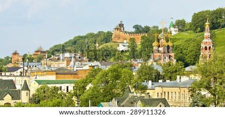 View of Nizhny Novgorod, Nizhny Novgorod Kremlin fortress and Kazanskaya church. - stock photo