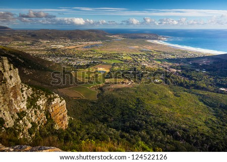 View of Noordhoek Beach from Silvermine Nature Reserve, Cape Peninsula, South Africa - stock photo