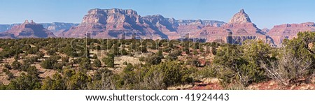 View Of North Rim from Horseshoe Mesa in Grand Canyon. - stock photo