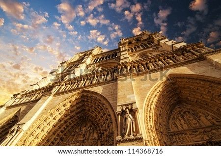 View of Notre Dame Cathedral in Winter Season, Paris - stock photo