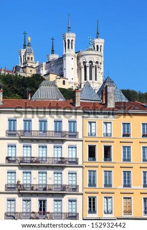 view of Notre Dame de Fourviere, Lyon, France - stock photo