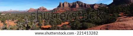 View of Oak Creek Canyon in Arizona - stock photo